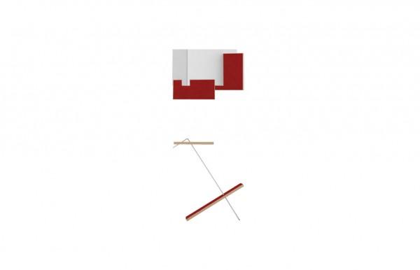 Nils Holger Moormann Bücherablage/Beistelltisch Liesmichl silber eloxiert / FU rot