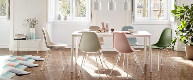 Vitra Plate Dining Table Esstisch Marmor mit Vitra DSX Sidechairs S Schalenstuhl