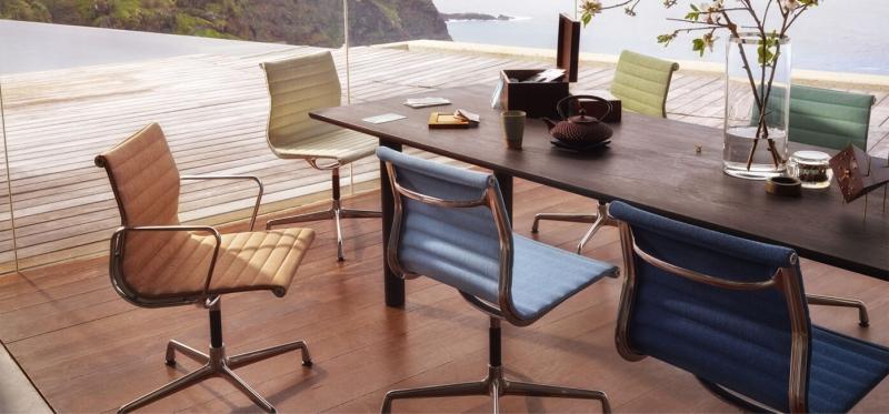 Vitra Aluminium Chairs EA 105/107/108 design by Charles & Ray Eames, 1958