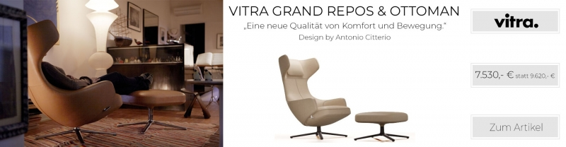 Vitra Grand Repos & Ottoman Leder Natural dark sand UG: basic dark