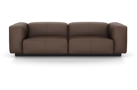 Vitra Soft Modular Sofa Zweisitzer Leder kastanie