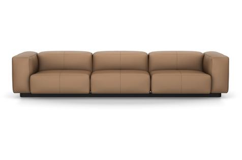 Vitra Soft Modular Sofa Dreisitzer Leder camel