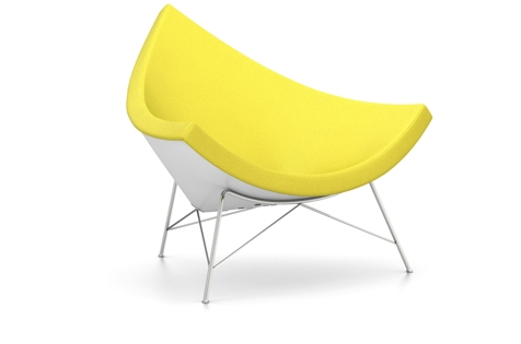 Vitra Coconut Chair Sessel Hopsak (Stoff) gelb/lindgruen