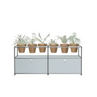USM Haller Pflanzenwelten Sidebaord mit 2 Klapptueren offenen Faechern 6 Tontoepfen und Zubehoer mattsilber