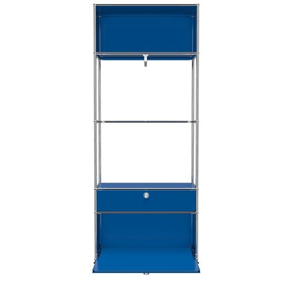 USM Haller Garderobe mit 2 Klapptueren und Garderobenstange enzianblau