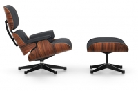Vitra Lounge Chair & Ottoman Santos Palisander Leder Premium nero UG poliert  Seiten schwarz