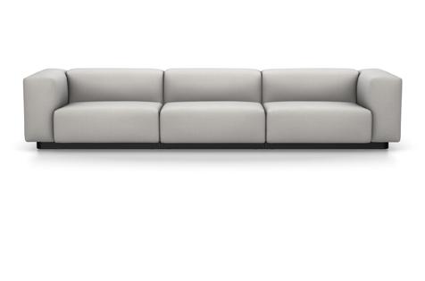 Vitra Soft Modular Sofa Dreisitzer Stoff Iroko 2 silbergrau