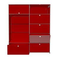 USM Haller Garderobe mit Einschubtueren Klapptueren Schubladen und Garderobenstange rubinrot