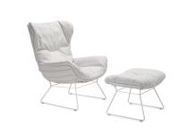 Freifrau Manufaktur Leyasol Wingback Chair & Ottoman Stoff Lopi Marble