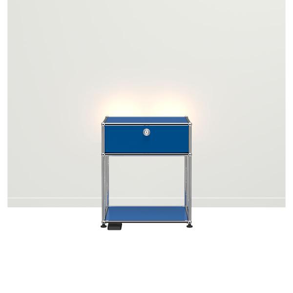 USM Haller E Nachttisch mit dimmbarem Licht enzianblau