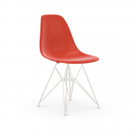 Vitra Eames Plastic Side Chair DSR (neue Höhe) poppy red UG: weiss, pulverbeschichtet