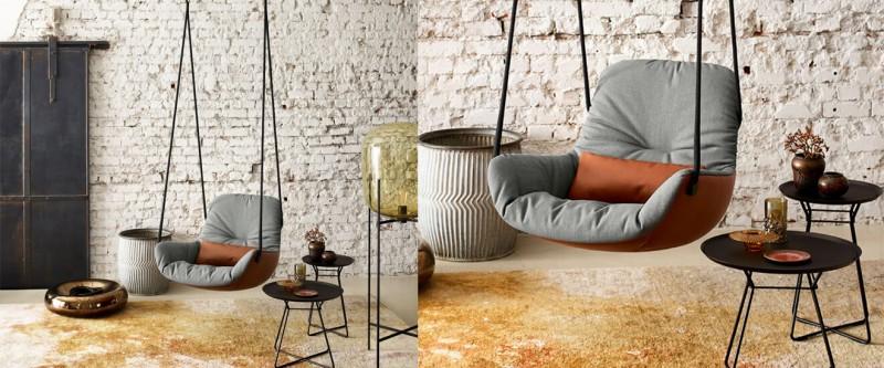 Freifrau Manufaktur Leya Swing Seat Stoff-Leder-Kombi Swingsessel mit Deckenbefestigung