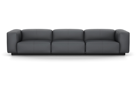 Vitra Soft Modular Sofa Dreisitzer Leder asphalt