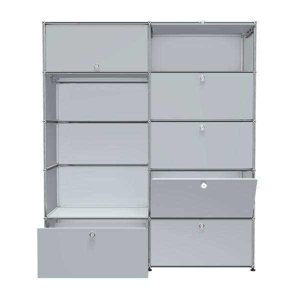 USM Haller Garderobe mit Einschubtueren Klapptueren Schubladen und Garderobenstange USM mattsilber