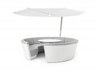 extremis® Kosmos Lounge mit Sonnenschirm & Tisch-Sitzkombination 8-Sitzer weiss/grau