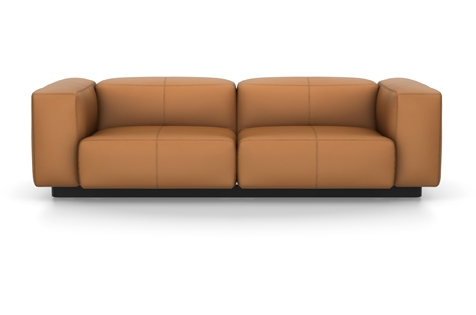 Vitra Soft Modular Sofa Zweisitzer Leder cognac
