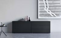 Piure Black Edt. NEX PUR BOX Sideboard mit Drehtüren & Schubkästen 240 x 77,3 x 48 cm schwarz matt