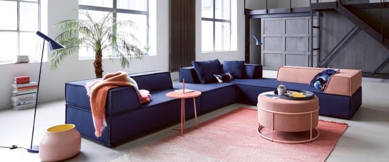 COR Trio Stoffsofa Eckkombination mit Longchair und Ottoman blau und pastelltöne