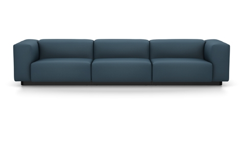 Vitra Soft Modular Sofa Dreisitzer Stoff Iroko 2 stahlblau