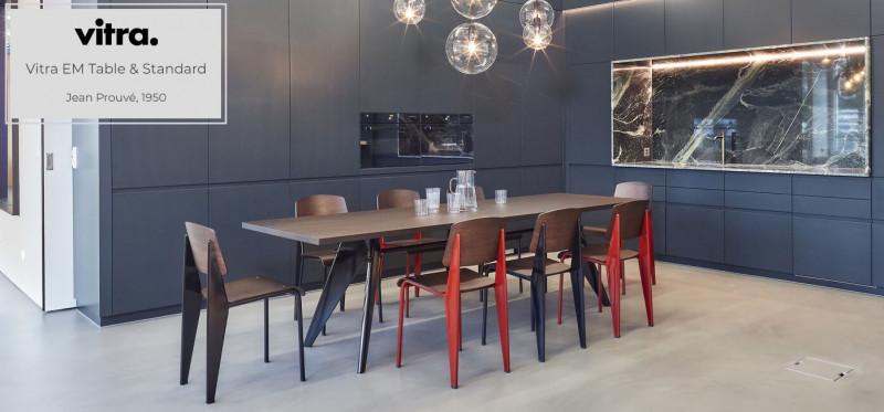 Vitra EM Table & Standard Stuhl Jean Prouve japanisches traditionelles Design