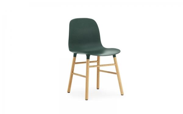 Normann Copenhagen Form Stuhl Wood Sitzschale grün / UG Eiche