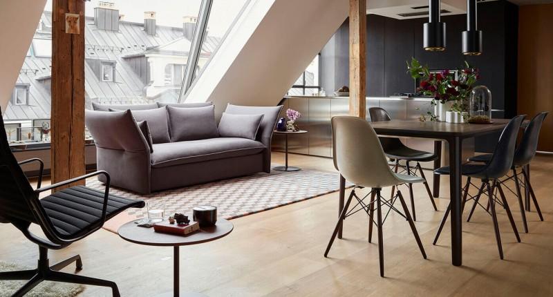 Vitra Mariposa Sofa, Vitra EA 124 Sessel & Vitra Segmented Tabel mit Sidechairs DSW