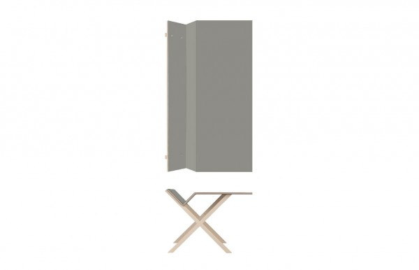 Nils Holger Moormann Schreibtisch Kant Linoleum grau B 190 cm