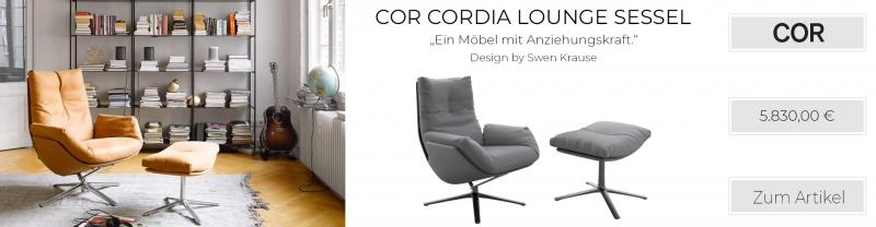 COR Cordia Lounge Ruhesessel, drehbar & Kippmechanik, Boucléstoff, anthrazit / Gestell schwarz