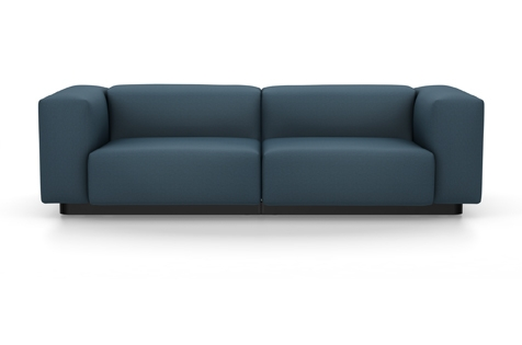 Vitra Soft Modular Sofa Zweisitzer Stoff Iroko 2 stahlblau