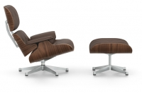 Vitra Lounge Chair & Ottoman Nussbaum schwarz pigmentiert Leder Premium kastanie UG poliert