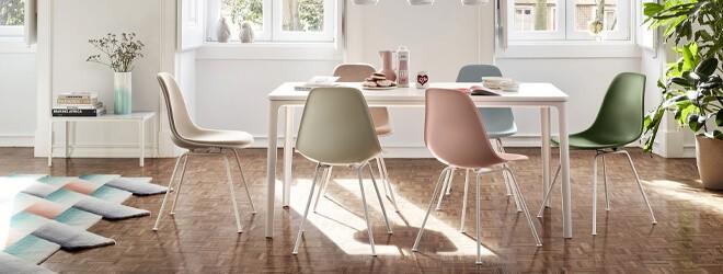 Esszimmer - Vitra Plate Dining Table Marmor mit Vitra Sidechair DSX in verschiedenen Farben