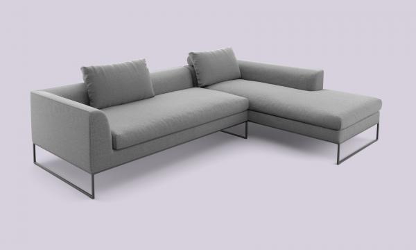 COR Mell Lounge Stoffsofa Sitz- und Liegekombination rechts Boucléstoff, anthrazit / Gestell schwarz
