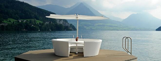 Garten- & Outdoormöbel - extremis Kosmos Loungemöbel Loungesofa mit Esstisch und Schrim